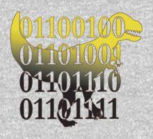dino binary code t-rex design One Piece - Long Sleeve