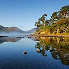 Autumn mist surrounds Catbells and Friars Crag on Derwentwater by Martin Lawrence