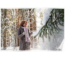 Woman in forest Poster