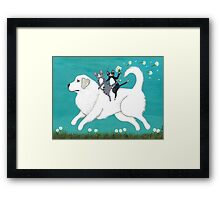 Great Pyrenees and Cats Framed Print