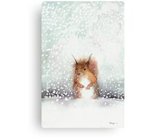 Red Squirrel in the Snow, or, Who Stole My Nuts? Canvas Print