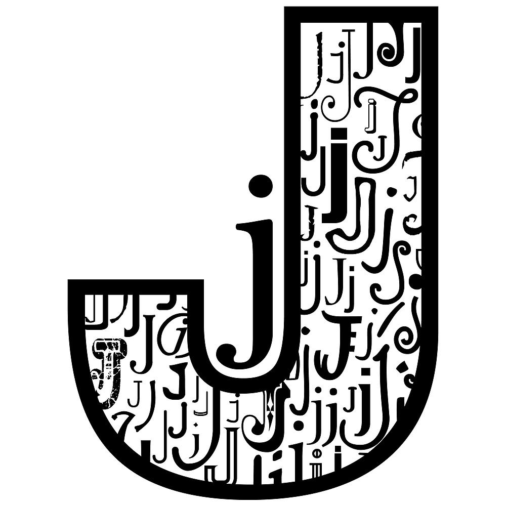 Big j, white background by Julie Hartman