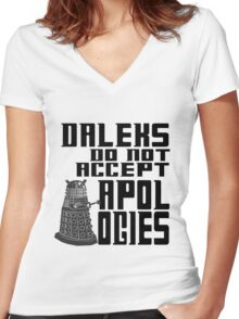Daleks do not accept apologies Women's Fitted V-Neck T-Shirt