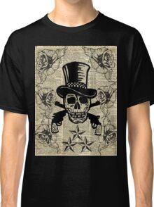 Gunslinger,Happy Skull,Guns'n Roses,Rockstar Vintage Decoration Card,Craft Supplies,Dictionary Art, Classic T-Shirt