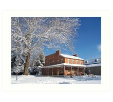 Landis Valley hotel in the winter Art Print