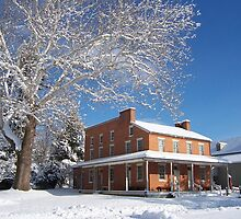 Landis Valley hotel in the winter by purplefoxphoto