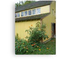 Landis Yellow Barn and Flowers Canvas Print