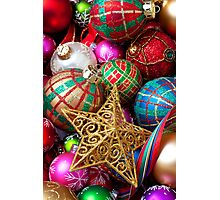 Box of Christmas ornaments with star Photographic Print