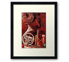 French horn Christmas still life Framed Print