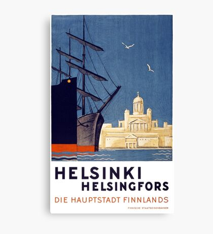 Helsinki Vintage Travel Poster Restored Canvas Print