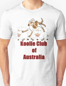 Koolie on cute sheep over Koolie Club of Australia black T-Shirt