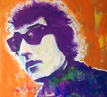 Bob Dylan Pop Art Portrait -Painting by William Wright by William Wright