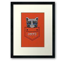 Happy pocket cat Framed Print