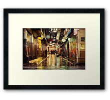 Wanker Lane, in the Rain Framed Print