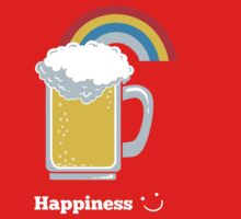 Happiness   Cute Beer with Rainbow One Piece - Long Sleeve