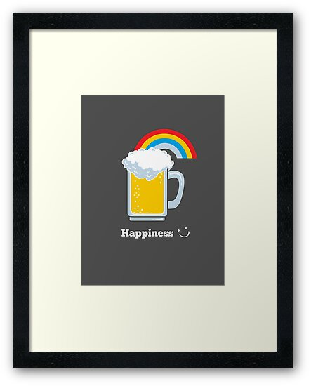 Happiness   Cute Beer with Rainbow by BootsBoots
