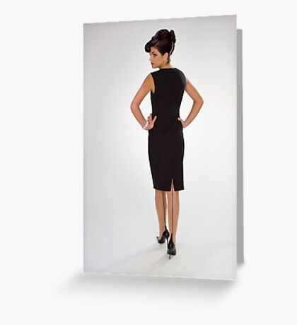 Woman in black dress Greeting Card