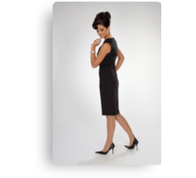 Woman in black dress Canvas Print