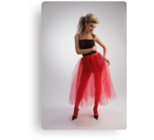 Beautiful girl in red skirt Canvas Print