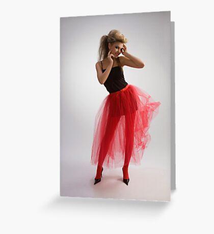 Beautiful girl in red skirt Greeting Card