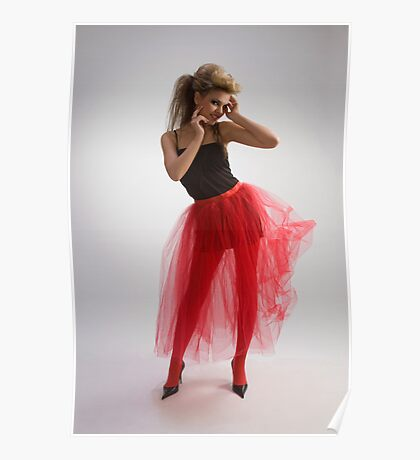 Beautiful girl in red skirt Poster