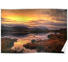 Golden Sunrise Over Loch Ba Poster