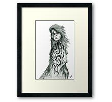Pencil Cloak Woman Framed Print