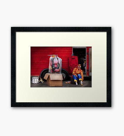Clown - Wardrobe change Framed Print
