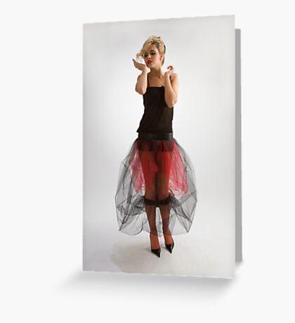 Beautiful girl in diaphanous skirt Greeting Card