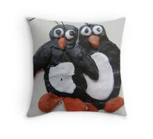 SNOW PENGUIN 20 - yeah yeah take a picture of us 'gerr out the way i wanna be in front  Throw Pillow