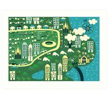 cartoon map of rio de janeiro Art Print