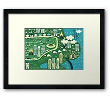 cartoon map of rio de janeiro Framed Print
