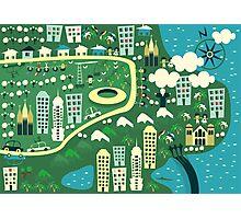 cartoon map of rio de janeiro Photographic Print