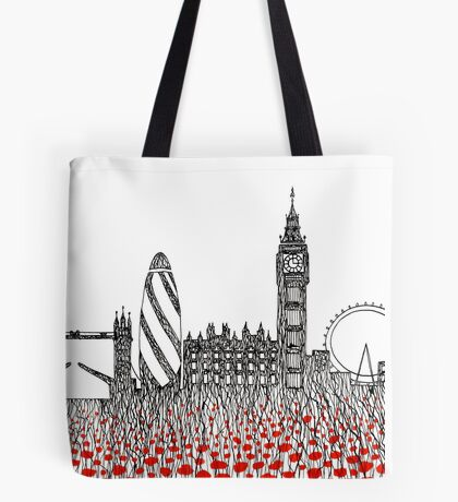 Remember ( London poppies) Tote Bag