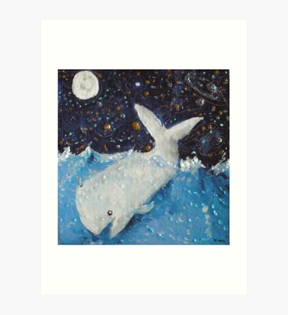 White Whale,Full Moon and Jupiter Art Print