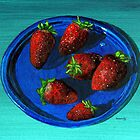Fancy strawberries on a not-so-fancy plastic plate by bernzweig