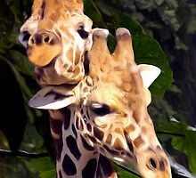 Giraffe's in Love - Painted Photograph by Dennis Stewart