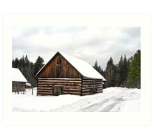 Pioneer Barn - Winter Art Print