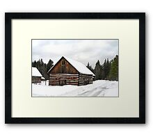 Pioneer Barn - Winter Framed Print