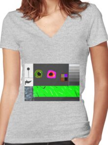 this is titled 'stress relief' Women's Fitted V-Neck T-Shirt