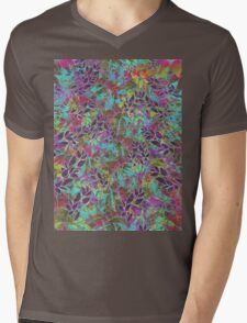 Grunge Art Floral Abstract Mens V-Neck T-Shirt