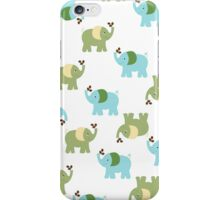 Green and Blue Cute Elephants iPhone Case/Skin