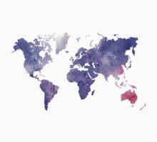 Purple Watercolor World Map Baby Tee