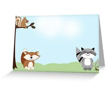 Enchanted Forest Raccoon, Fox and Squirrel Card Greeting Card
