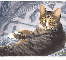 Funky cat watercolor by Mike Theuer