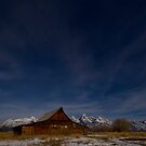 Full Moon Light and Stars Over Mormon Row Barn by A.M. Ruttle