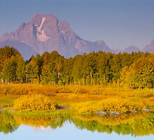 Mount Moran, Tetons at Sunrise from Oxbow Bend by David Galson