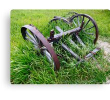 Old Farm Equipment in Tall Grass Canvas Print