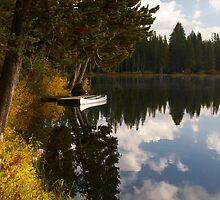 Serene Lake docked Canoe  by David Galson