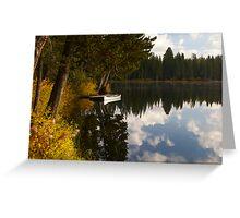 Serene Lake docked Canoe  Greeting Card